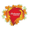 autumn season heart leafs icon design vector image