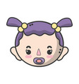 baby girl head with pacifier and hairstyle vector image vector image
