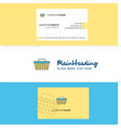beautiful basket logo and business card vertical vector image vector image