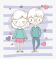 beautiful little kids couple with hearts pattern