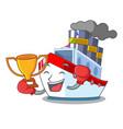 boxing winner ship contener a in shape cartoon vector image