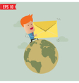 Business man deliver envelope vector image