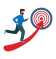 businessman running towards the goal business vector image