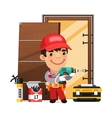 Carpenter Installs the Door vector image vector image