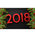 checkered 2018 background with spruce branches vector image vector image