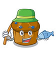 fishing mufin blueberry mascot cartoon vector image vector image