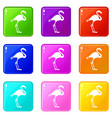flamingo icons 9 set vector image vector image