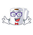 geek character toilet paper rolled on wall vector image vector image