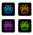 glowing neon paw print icon isolated on white vector image