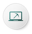 green mining concept with laptop and pickaxe icon vector image vector image