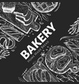hand drawn bakery design template bakery on chalk vector image