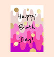 happy birthday cake layers card design vector image vector image