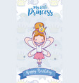 happy birthday with cute fairy card vector image