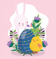 happy easter cute bunny and chicken with blue egg vector image vector image