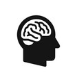 human head profile with brain symbol simple black vector image vector image