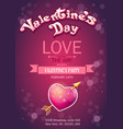 Invitation card on Valentines Day vertical vector image