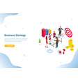 isometric 3d business strategy concept with team vector image vector image