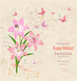 lovely bouquet of pink lilies with flying vector image