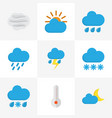 meteorology flat icons set collection of rain vector image