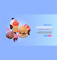 overweight isometric concept banner vector image vector image