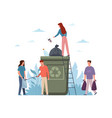 people sorting garbage tiny men and women vector image vector image