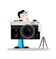 photographer with retro camera vector image vector image