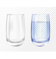 realistic empty glass with water cup set vector image