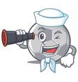 sailor with binocular football character cartoon vector image vector image