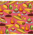 seamless pattern mexican food hat traditional vector image vector image