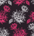 Seamless pattern with pink and white flowers on vector image