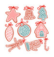 set christmas gingerbread cookie in flat hand vector image vector image