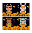 set of halloween cards vector image vector image