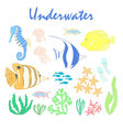 Set of underwater design elements Sea fish design vector image