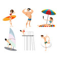 six beach characters vector image