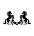 two horses and horseshoe icon vector image