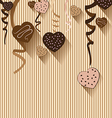 Valentines Day and Heart chocolate on colorful vector image vector image