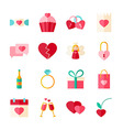 Valentines Day Flat Objects Set isolated over vector image