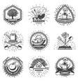 vintage monochrome gardening logos set vector image vector image