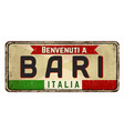 welcome to bari vintage rusty metal sign vector image vector image