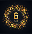 6 th years anniversary isolated design vector image