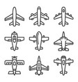 airplane icons set on a white background line vector image