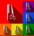 barber shop sign set of icons with flat vector image vector image