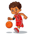 basket ball boy performing dribble vector image vector image