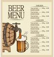Beer menu vector image vector image