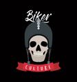 biker culture poster with skull with helmet of vector image vector image