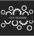 black background with white gears symbol vector image