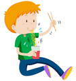 Boy eating instant noodles from cup vector image vector image