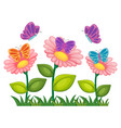 butterflies flying in flower garden vector image vector image
