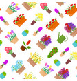 cartoon flower stand elements seamless pattern vector image vector image