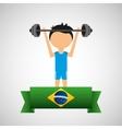 cartoon weight lifting player brazilian label vector image vector image